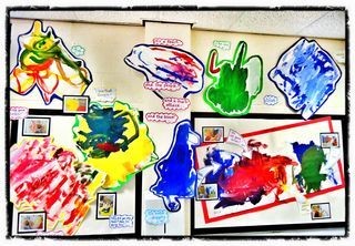 childrens work standing out with no background to compete with #abcdoes #eyfsdisplay #displayideas