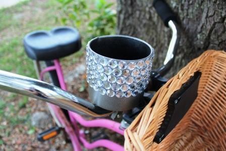 DIY~ Throw some bling on your bike cup holder! So cute!!!
