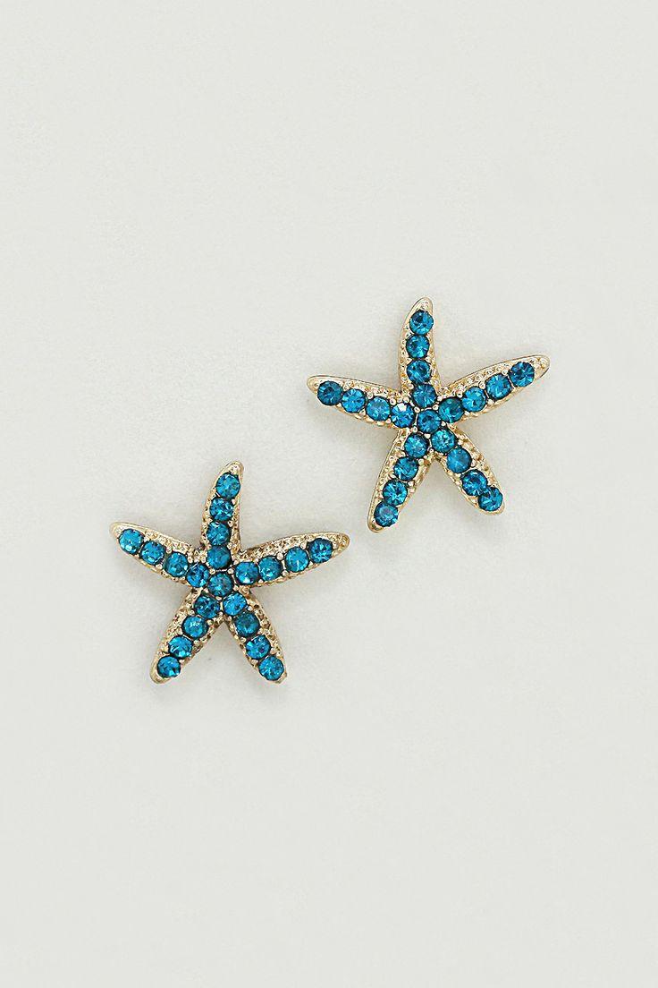 Starfish Earrings in Teal Crystal