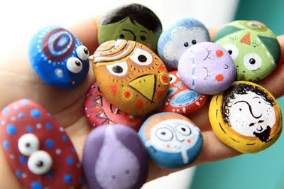 colorful, smiling rock friends