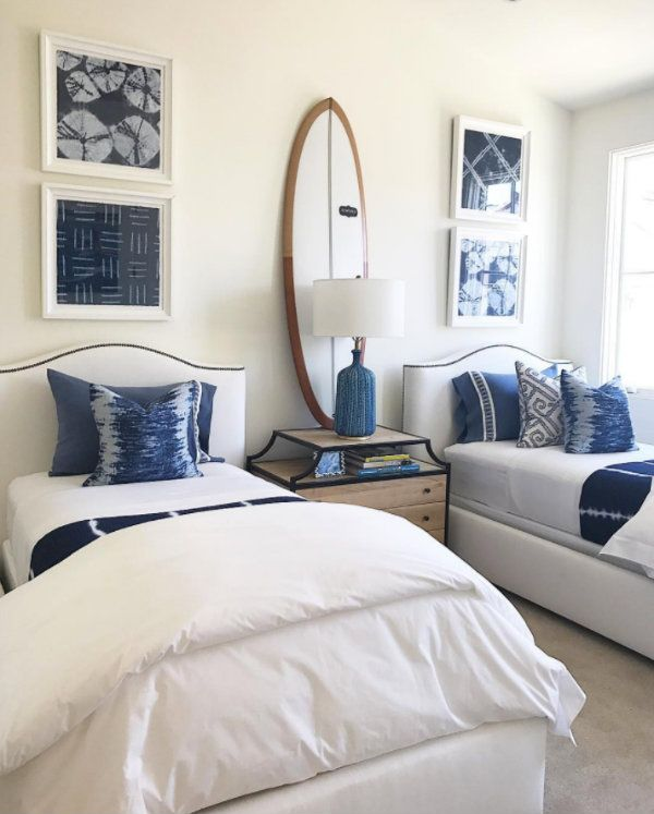 Corona del Mar Home Tour, Barclay Butera - guest bedroom with twin beds in blue and white