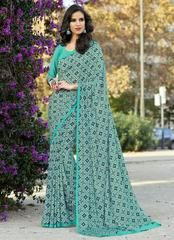 Green Color Crepe Georgette Casual Party Sarees : Reeshita Collection YF-63663