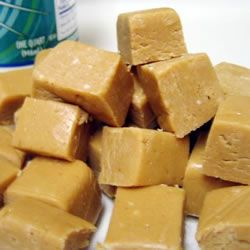 """Abby's Favorite Peanut Butter Fudge 1 c creamy peanut butter (good peanut butter) 1 c sweetened condensed milk (Eagle brand) 1 c powdered sugar 1/2 t vanilla dash salt  Combine and spread into a 8"""" or 9"""" buttered pan. Chill to set. ENJOY"""