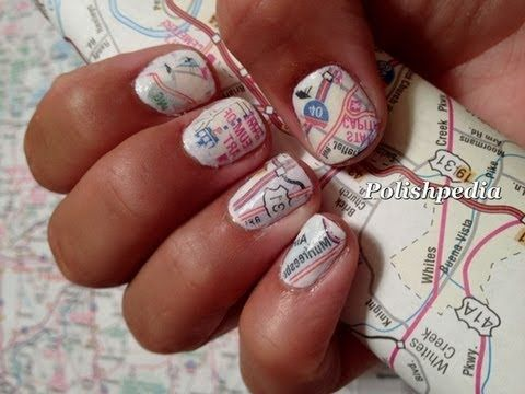 Soak 5 seconds in alcohol then press the map onto your fingers for 15 seconds.    Remove excess with rubbing alcohol then apply topcoat.  Do you love these Map Nails?  Visit our website!    http://www.polishpedia.com    These map nails have never been on youtube before now.  We are excited to be the first ones to share this here.  We know that our subscribers will absolutely love these nails...who wouldn't?    Although at first they may seem hard they are not.  In fact they are super ea...