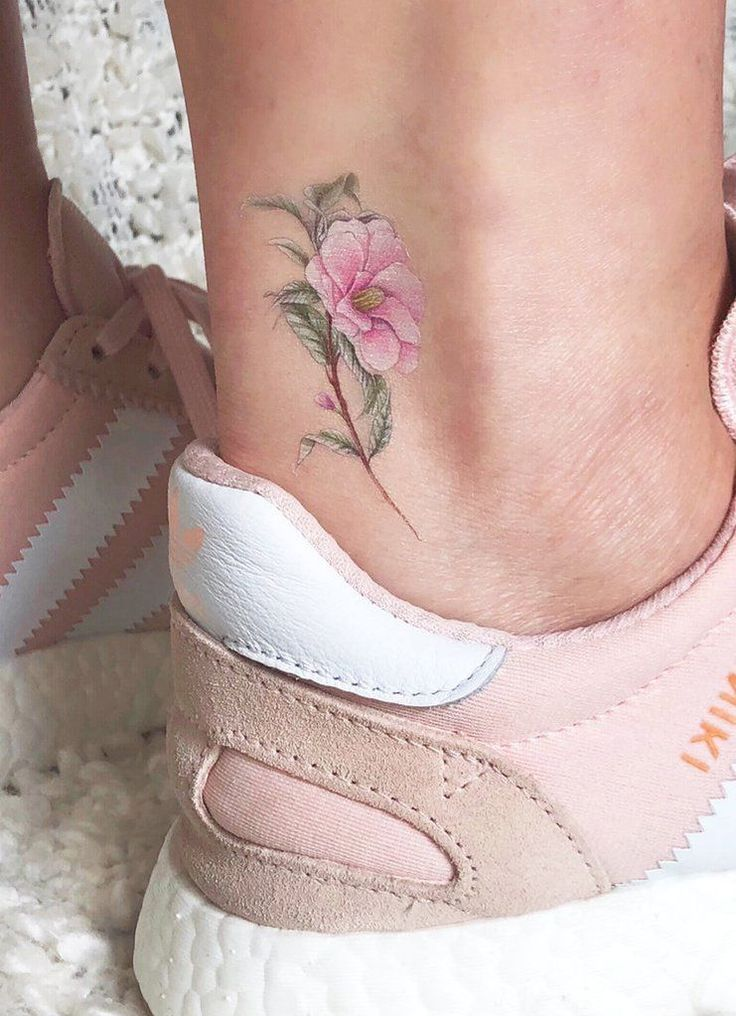 Cute Little Realistic Pink Flowers Flower Ankle Tattoo Ideas for Women – www.MyBod