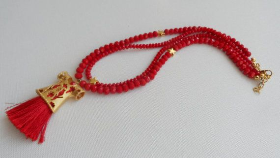 Red Crystal Caftan Necklace-Bridesmaid by knittingshop on Etsy