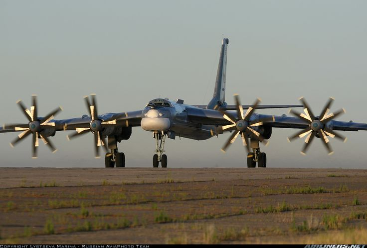 Russian Air Force Tupolev Tu-95MS at Engels Air Force Base, July 2006. The Tu-95MS is the only propeller-powered strategic bomber still in operation anywhere in the world today.(Photo: Lystseva Marina - Russian AviaPhoto Team)
