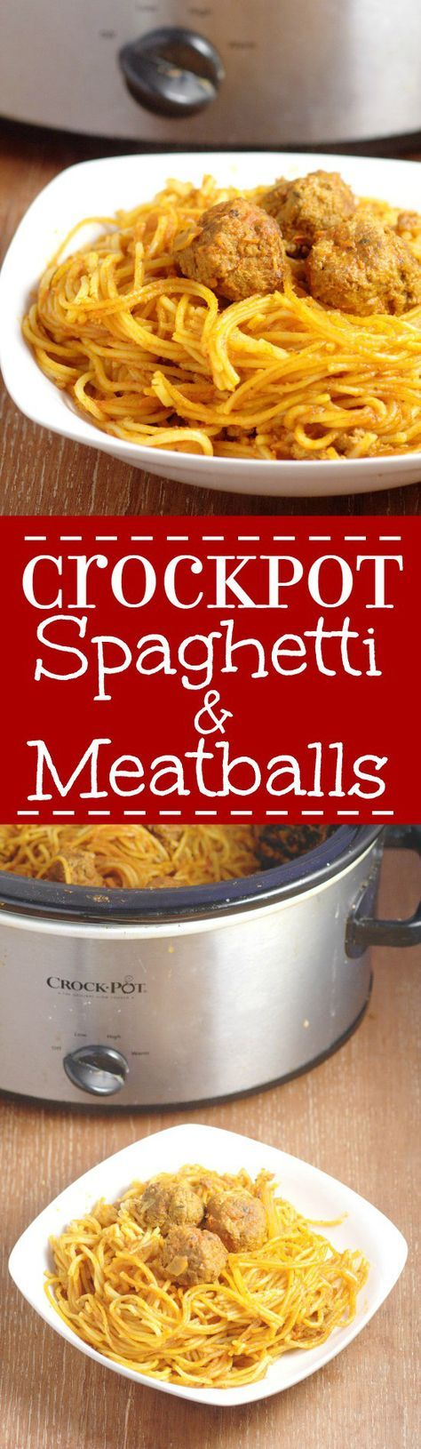 Crockpot Spaghetti and Meatballs recipe with traditional, tender Italian meatballs slow simmered in the slow cooker.  You don't even have to boil the spaghetti! It's a total Spaghetti night game-changer! Great easy family dinner night idea! I think this would be great for a crowd too!