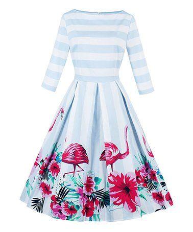 Plus Size Boat Neck Striped Floral Flamingo Print Dress - Light Blue -