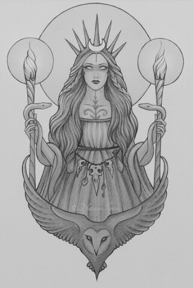 Hecate, the goddess of wild places, childbirth, and magic. I made the image black and white for a tattoo idea.