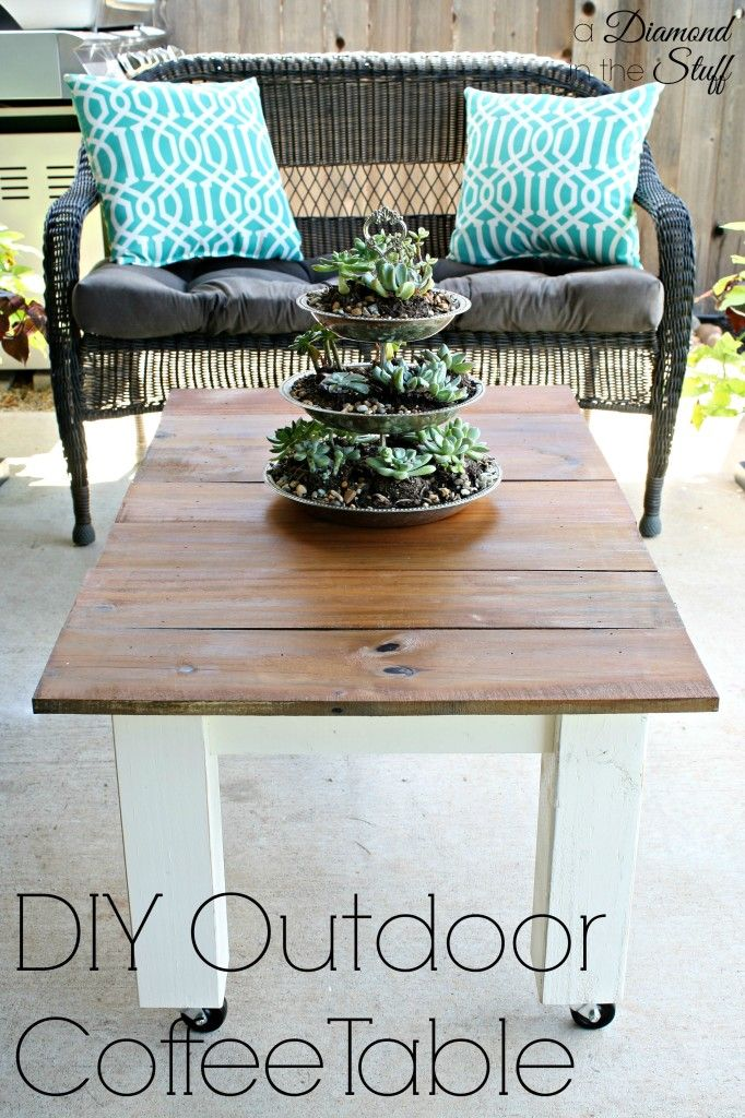 DIY Outdoor Coffee Table @ A Diamond In The Stuff