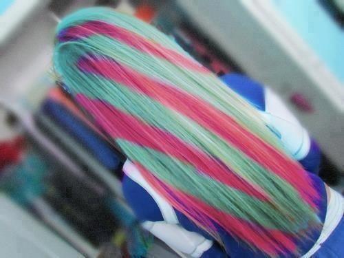 Bunte Haare Blau Rosa hammer o:
