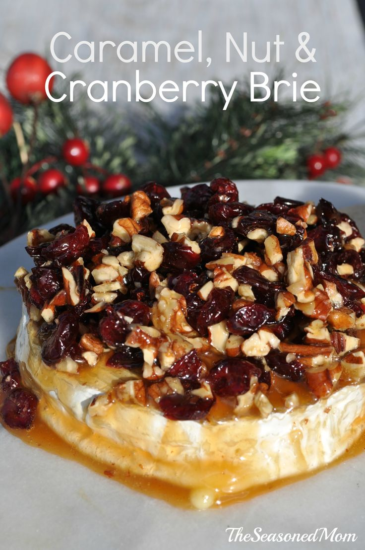 CARAMEL, NUT & CRANBERRY BRIE APPETIZER: oozing cheese, sweet fruit, and crunchy pecan topping...and ready in just 1 MINUTE!