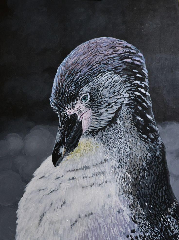 """""""Poco Pinguino"""" Acrylic on board. Painted 2013"""
