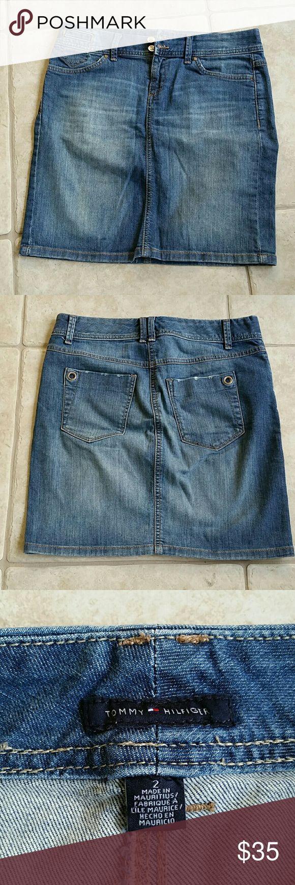 """Tommy Hillier Denim Skirt NEVER WORN Denim skirt, sits below waist. 17 1/4"""" long o.a., , 31"""" waist & 39"""" diameter at hem. 99% Cotton & 1% Lycra. Tommy Hilfiger Skirts Mini"""