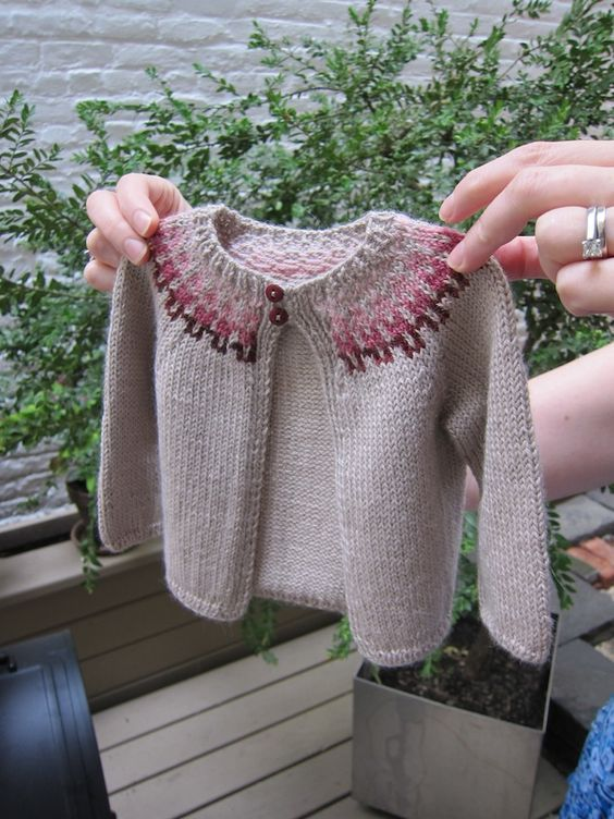 Baby Sweater made from Baby Girl Fair Isle Cardigan Pattern at Purl Soho: