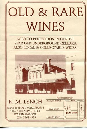 An old sign for KM Lynch WIne & Spirit Merchants: 116-118 Fairy St Warrnambool. Great article Bluestone :)