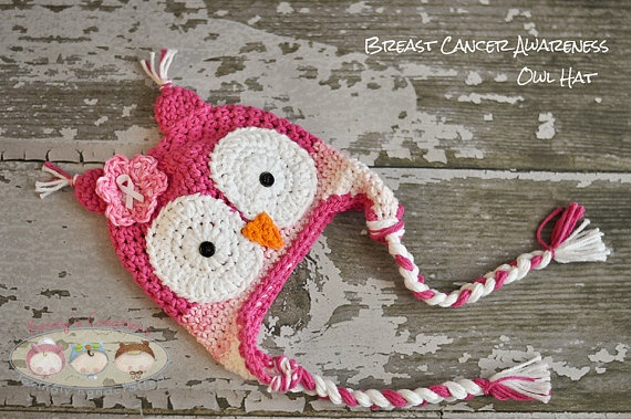 Breast Cancer Awareness Owl Hat by KaseyCreations on Etsy, $20.00