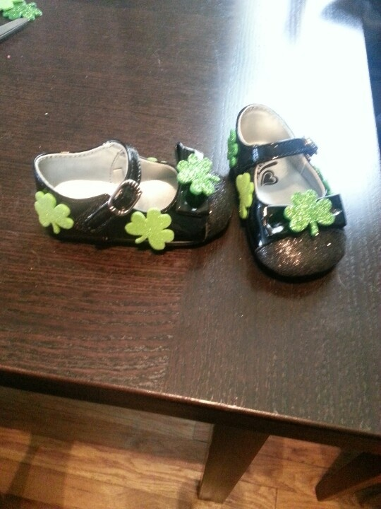 Foam shamrocks added to a pair of black mary janes for st pattys day