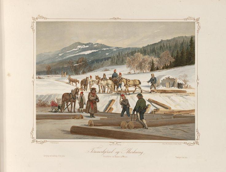 Norske Folkelivsbilleder 04 - Tömmerkjörsel og Mærkning (Johan Fredrik Eckersberg). jpg (4432×3372)
