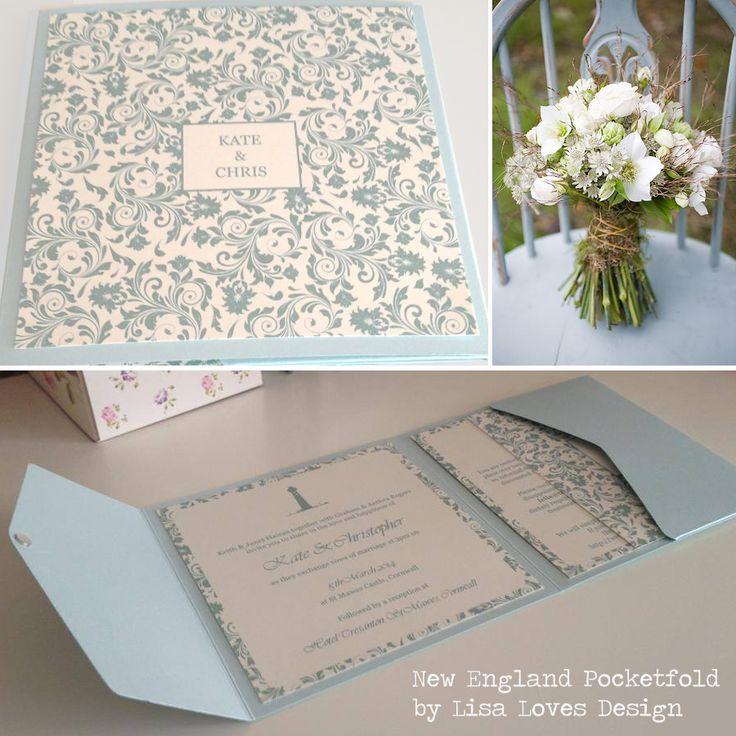 New England style duck egg blue wedding pocketfold invitation by Lisa Loves Design www.lisalovesdesign.co.uk