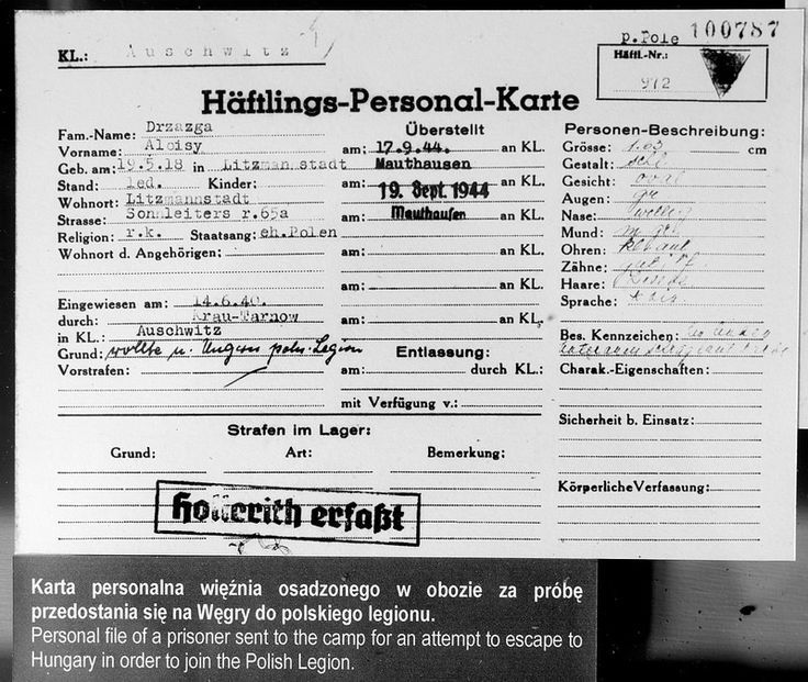 Block 4. A registration card of prisoner no. 972, Alojzy Drzazga, who was imprisoned in Auschwitz for an attempt escape to Hungary in order to join the Polish legion.