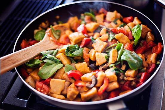 Vegan Gluten-Free Pumpkin Gnocchi with Vegetable Tomato Stir Fry