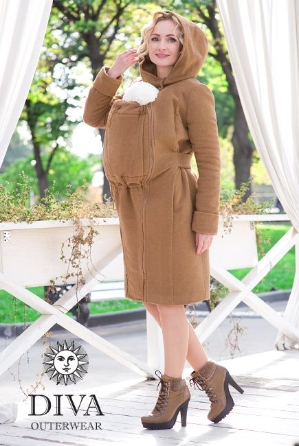 3in1 Babywearing Wool Winter Coat Diva Camello.   Wool coat for front carrying, regular use or during pregnancy.