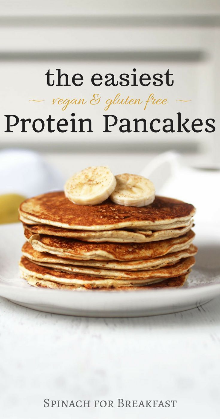 The Easiest Protein Pancakes -- healthy, vegan, gluten free and grain free, and only calls for 4 ingredients! Our banana and protein powder based recipe is not only the easiest but also tastes the best! A super easy and delicious way to start off your mor