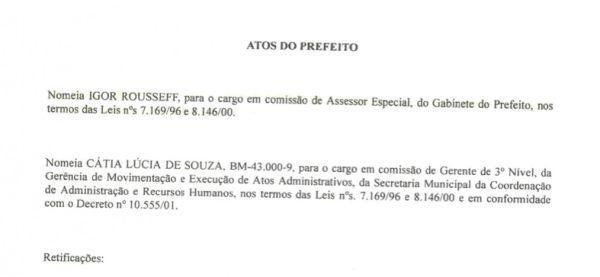 Folha Política: Veja o documento de nomeação do irmão de Dilma a cargo comissionado em prefeitura petista