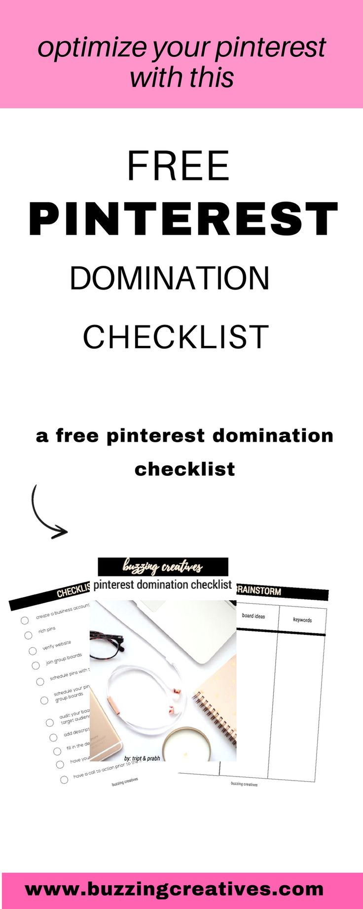 download our Pinterest Domination Checklist and get started on Optimizing your Pinterest and get early bird access & price to Pin for Growth our Pinterest Course