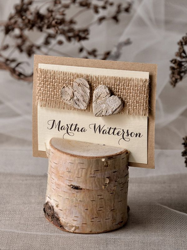 rustic place card holder with place card birch wedding escort card with holder rustic wedding place card