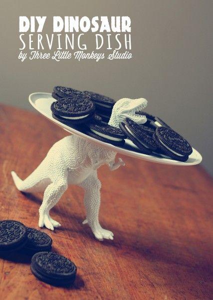 Make a Dinosaur Serving Dish  -  Three Little Monkeys Studio