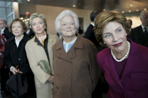 Four first ladies ~ Former First Ladies (from left to right) Rosalynn Carter, Hillary Clinton, Barbara Bush and Laura Bush at the dedication of the William J. Clinton Presidential Center and Park in 2004.