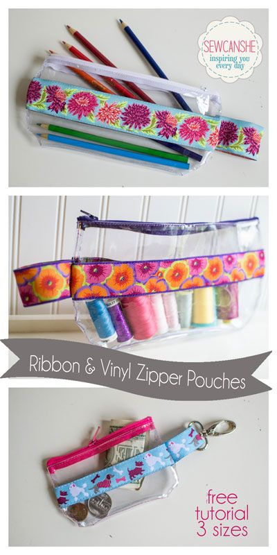 Ribbon and Vinyl Zipper Pouches -- sewing tutorial