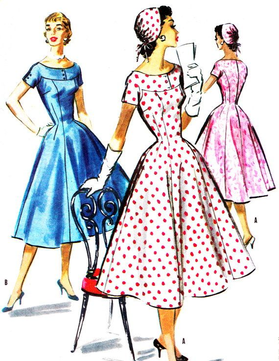 1950s Dress Pattern McCalls 3626 Day or Evening Yoked Full Skirt Dress and Cap Junior Teen Vintage Sewing Pattern Bust 30