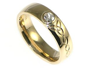 Bespoke Diamond Ring Inspired By A Welsh Love Spoon Made In Yellow Gold With Brilliant Cut Celtic Engraving Designed Alice Rochester