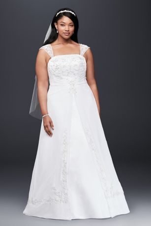 A-Line Plus Size Brautkleid mit Flügelärmeln   Davids Braut   – Wedding