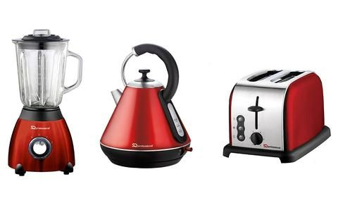 Kettle Toaster Blender Set Of Electric Stainless Steel Ruby Red