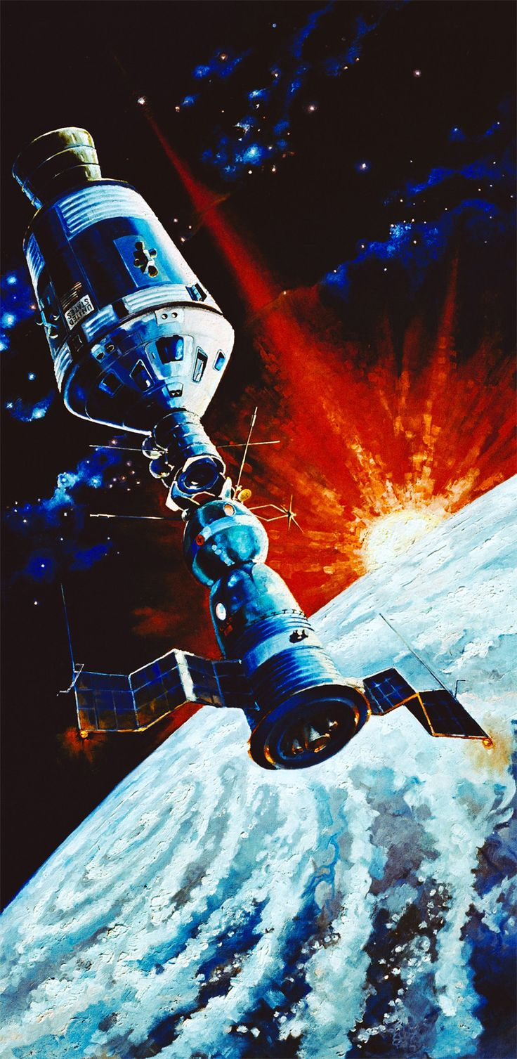 A Soviet Soyuz spacecraft docking in Earth orbit with an American Apollo spacecraft. Artwork by Leonov, May 1974