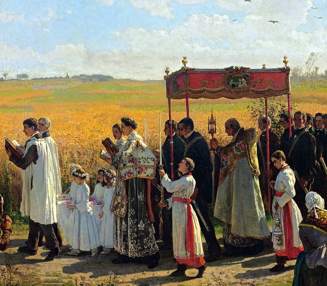 Blessing of the Wheat Fields in Artois, Jules Breton, 1857. (detail)