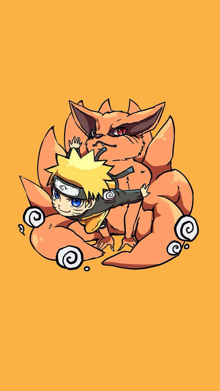 Uzumaki Naruto and Kurama the Kyuubi. Tap image for more Cute Jinchūriki Bijuu Naruto Shippuden Characters Wallpapers Collection. - Wallpaper for iPhone 5/5s/5c, iPhone 6/6 Plus @mobile9 #anime #manga