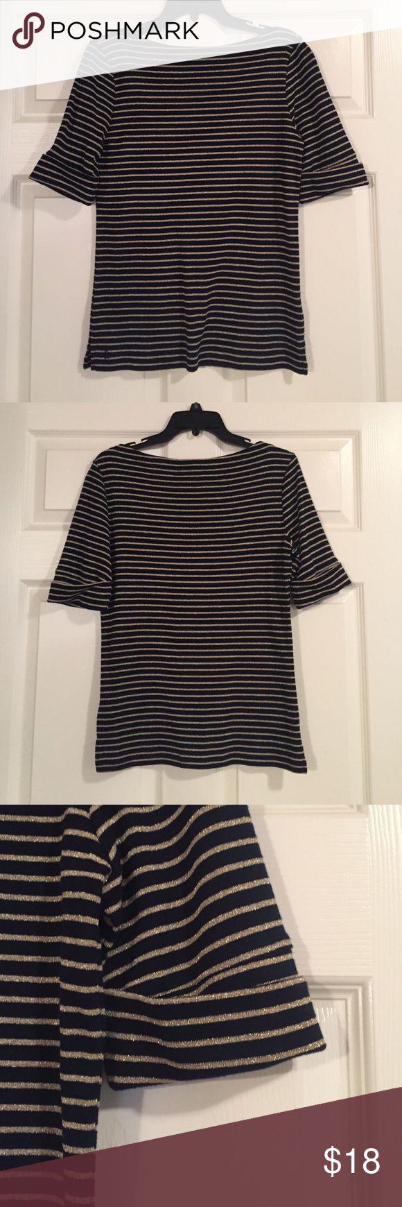 Blouse *Ralph Lauren brand *Ralph Lauren blouse. Cute cupped sleeves. Boat neckline. Black and Gold stripe pattern. Lauren Ralph Lauren Tops Blouses