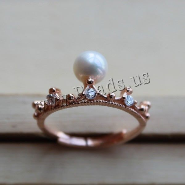 Freshwater Pearl Finger Ring, with Brass, Crown, rose gold color plated, natural & with cubic zirconia