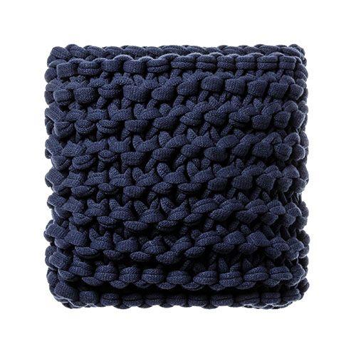 Indigo Chunky Knit Cushion