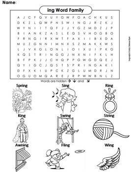 Ing Word Family Word Search Coloring Sheet Phonics Worksheet