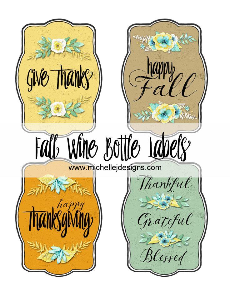 Fall Wine Bottle Labels :http://michellejdesigns.com/fall-wine-bottle-labels/
