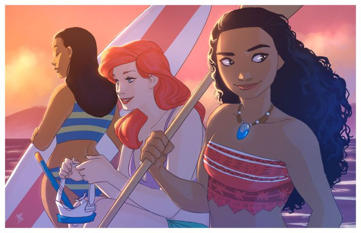 Disney beach ladies.