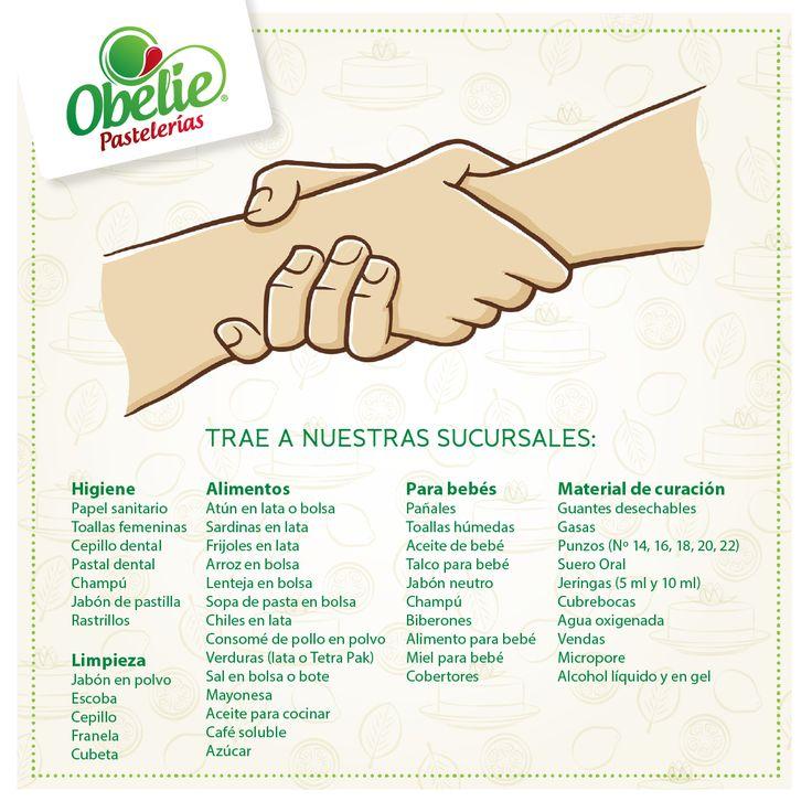 México nos necesita y por eso en Obelie Pastelerías convertimos nuestras sucursales en centros de acopio para ayudar a las zonas afectadas por el sismo. Trae los productos con los que quieras ayudar, nosotros llevaremos todo directamente a la Cruz Roja Mexicana Aguascalientes Juntos podemos más! #FuerzaMéxico #ValorObelie