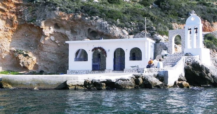 Greek traditional chapel in Kefalonia island. Approached by the sea!